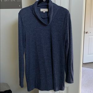 {loft} heather blue cowlneck tunic, sz L